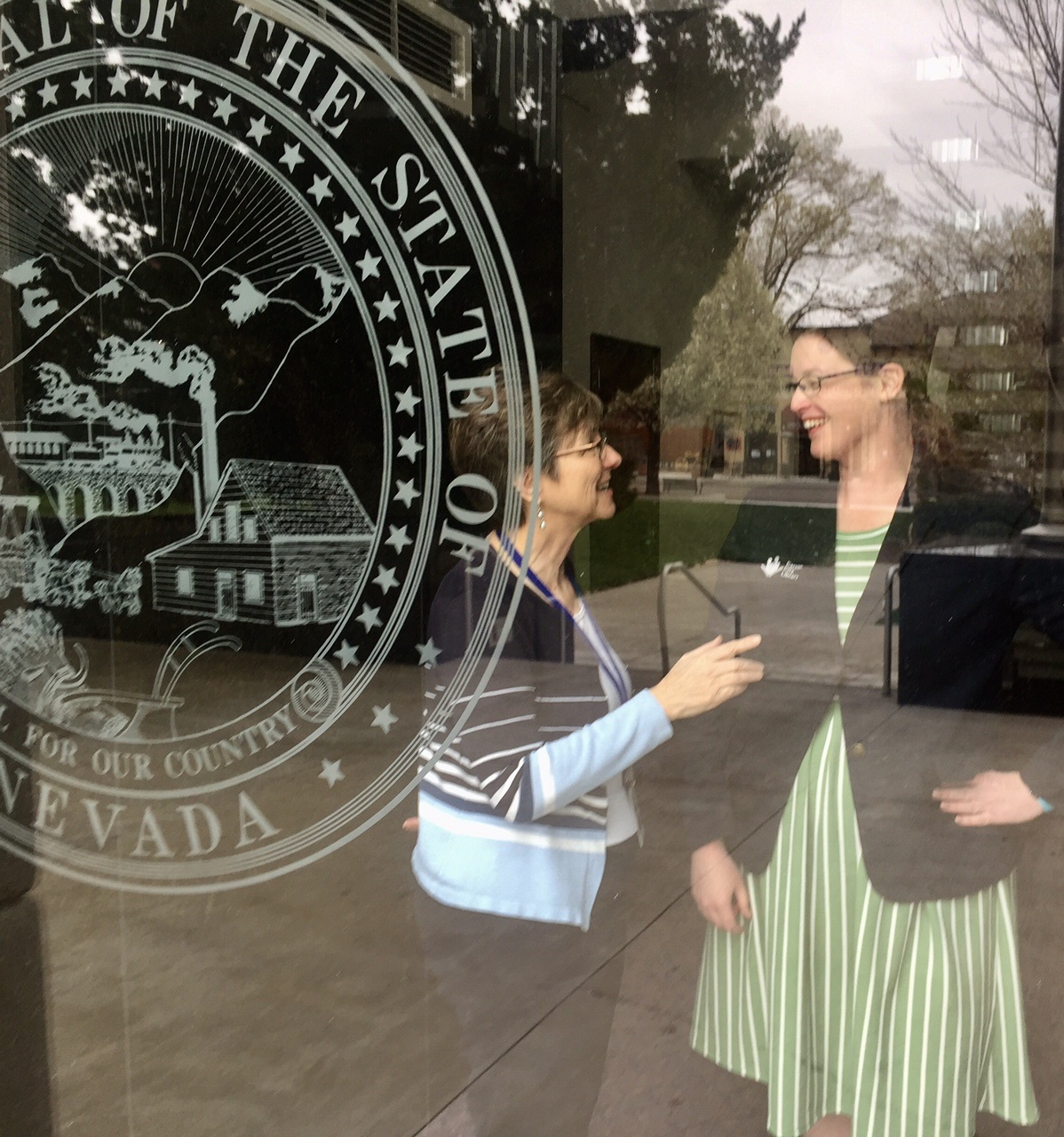 Diane Baker and Sena Loyd attend Nevada Library Day at the Legislature
